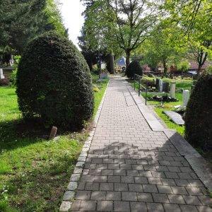 Friedhof Untertürkheim Stuttgart Gehweg und Grabsteine rechts