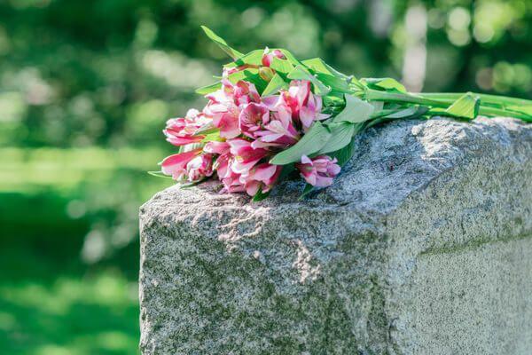 Rosa Blumen auf einem alten Grabstein