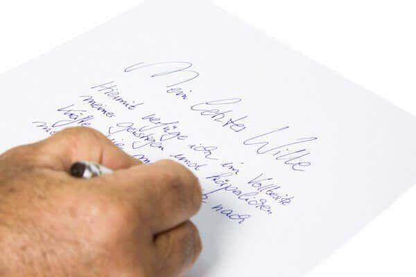 Testament - Mein letzter Wille - Handschriftlicher Brief